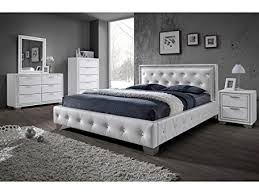 Sulu 4FT6 Bed   Crystal Double Bed Faux Leather Bed Frame   Finish : White