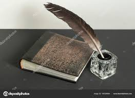 old book and quill pen with inkwell on wooden table free copy e