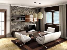 simple interior design with tv stand for small living room and stone wall tiles and also square brown area rug