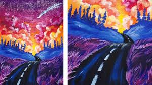 acrylic painting step by step of a road and sunset fantasy