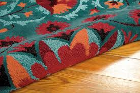 red and teal area rug