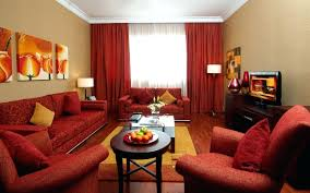 living room with red sofa decorating ideas what colors go