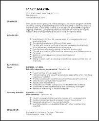 Recently Graduated Resume Free Entry Level Chemist Resume Template Resume Now
