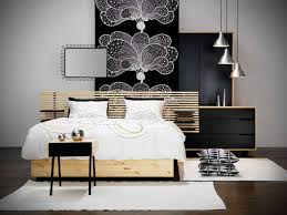 bedroom design for guys brown lacquered oak wood platform bed black mahogany wood bed frame white