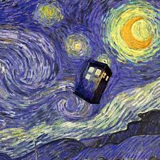 doctor who tardis van gogh starry night oil painting on canvas wall art