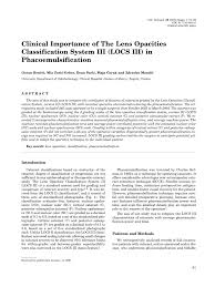 Pdf Clinical Importance Of The Lens Opacities