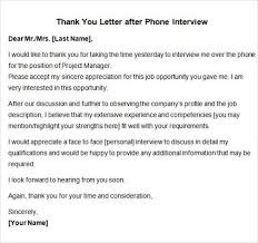 Thank You Letter After Face To Face Interview 15 Thank You Letters After Interview Sample Templates Threeroses Us