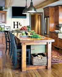 small rustic kitchen island with seating