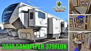 new 2018 front living room sandpiper 379flok outside kitchen fifth wheel rv cer colorado dealer