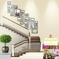 stairway decoration wood photo frame stairwell gallery wall set modern style flat border wooden picture stairway