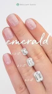 Carat Size Chart Emerald Cut On Hand Diamond Size Comparison Brilliant Earth
