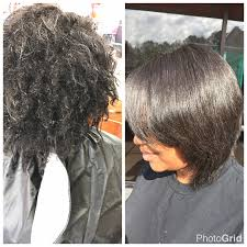 before and after silk press on natural hair using by l jones products