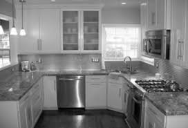 kitchen grey mosaic backsplash idea side dining table set glass for kitchen cabinets having finish
