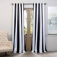Half Price Drapes BOCH-KC43-84-GR Grommet Blackout Curtain, Awning Black & White  Stripe