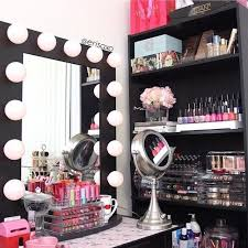 makeup vanity organizer in master bedroom with closet storage ideas also dressing table countertop and modern light mirror