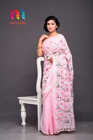 Makeover Saree Designs Pink Linen All Over Embroidery Saree Premium Linen Designer