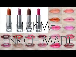 Maybelline 24 Hour Lipstick Colour Chart Lakme Enrich Matte Lipstick All 20 Shades Swatches Review