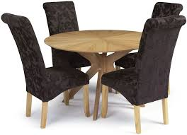 serene bexley oak round dining set with 4 kingston aubergine fl fabric chairs 120cm