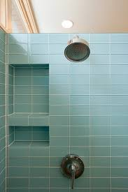 Sophisticated Built In Soap Storage With Chrome Wall Head Shower Attached  Blue Subway Tile In Small Walk In Shower Design Views
