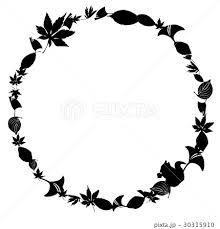 秋のリースフレーム白黒のイラスト素材 30315910 Pixta