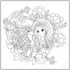 Cute Girl And Unicorn In Roses Garden Outline Drawing Coloring
