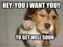 Hey You I Want You To Get Well Soon Funny Dog Graphic ... via Relatably.com