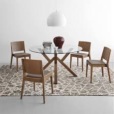 Table Ronde En Verre Pied Central Noyer Design Sur Cdc Design