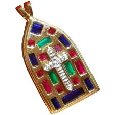 to expand vintage stained glass cross pendant necklace with natural rubies emeralds sapphires