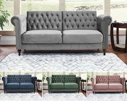 3 seater velvet chesterfield sofa bed