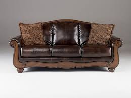 wood trim faux leather sofa couch
