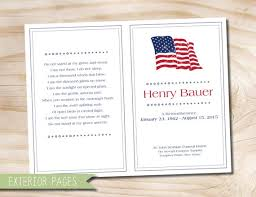 Memorial Program Mesmerizing Americana American Flag Patriotic Funeral Or Memorial Program Etsy