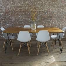 iroko midcentury modern hairpin leg dining table by biggs  quail