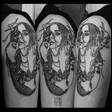 татуировки девушка олень в стиле черно серая лайнворк Linework