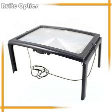 desk type led lighted magnifying glass big lens illuminated 3x magnifier rectangular reading loupe especially for