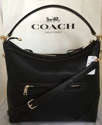coach f35846 ivie leather hobo cross shoulder bag purse black for