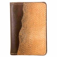 leather wallet without coinpocket decorated with salmon skin leather
