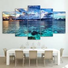 <b>5 Panel</b> Sea Wave Landscape <b>HD</b> Modern Wall Art Home <b>Framed</b> ...
