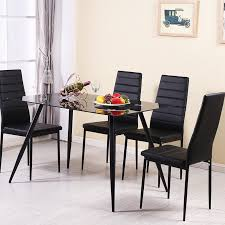 black glass dining table and 4 6 chair sets faux leather kitchen furniture uk