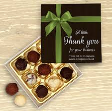 corporate thank you bow personalised chocolate box