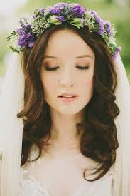beautiful hair and makeup love that purple flower crown