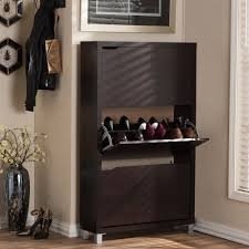 baxton studio simms wood modern shoe cabinet in dark brown