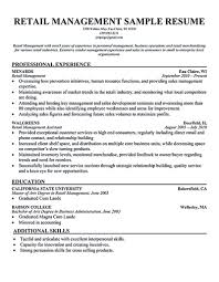 Sample Resume Of Store Manager Retail Store Resume Barraques Org