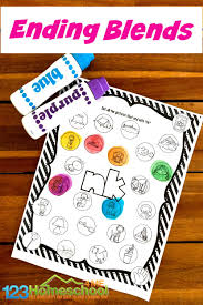 Consonant blends exercises, beginning consonants, digraphs and trigraphs, ending consonants. Free Ending Blends Worksheets With Do A Dot Markers