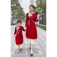 Set áo dài mẹ và bé gái nhung đỏ có kèm mấn đội đầu mềm mịn Mẫu mới 2021 tốt  giá rẻ