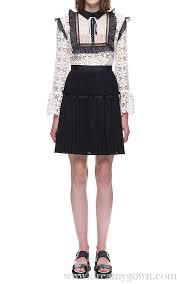 self portrait adeline lace pleated short dress black white bcbg leather jacket bcbg pants usa factory