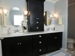 black and white bathroom furniture. Black White Bathroom Decoration Using Glass Tulip Wall Sconces Including Wood And Furniture