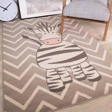 kids grey zigzag fun zebra bedroom rugs soft boys girls chevron animal print mat