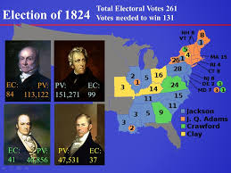 「no presidential candidate had received a majority of the total electoral votes in the election of 1824」の画像検索結果
