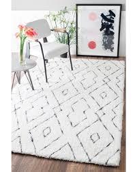 black and white diamond rug. handmade soft and plush diamond lattice shag white rug (5\u0027 x 8\u0027) black