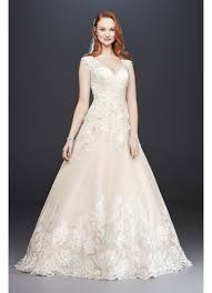 scalloped v neck lace and tulle wedding dress david s bridal